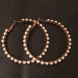 Torrid Large Gold Statement Pearl Hoop Earrings